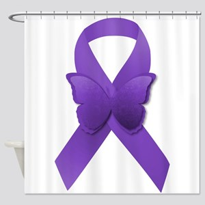 Purple Awareness Ribbon Shower Curtain