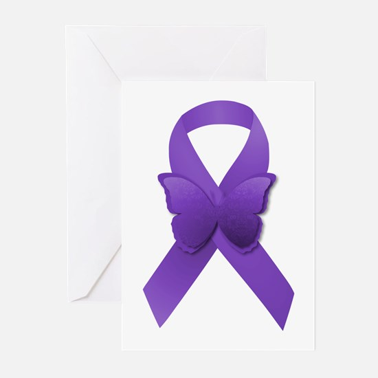 Purple Awareness Ribbon Greeting Cards (Pk of 10)