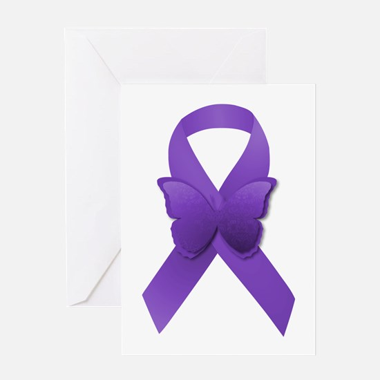 Purple Awareness Ribbon Greeting Card