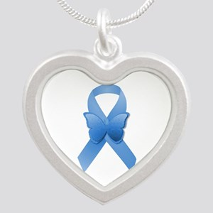 Blue Awareness Ribbon Silver Heart Necklace