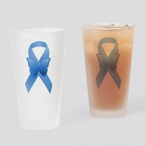 Blue Awareness Ribbon Drinking Glass