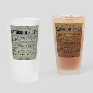 bathroom rules Drinking Glass