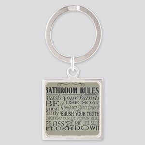 bathroom rules Square Keychain