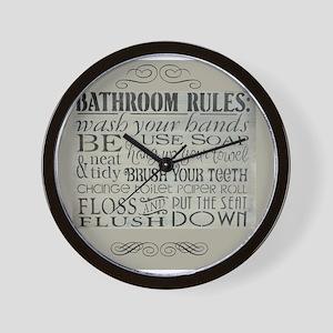 bathroom rules Wall Clock