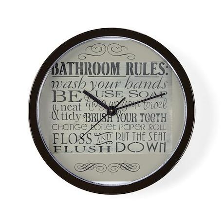 Genial Bathroom Rules Wall Clock