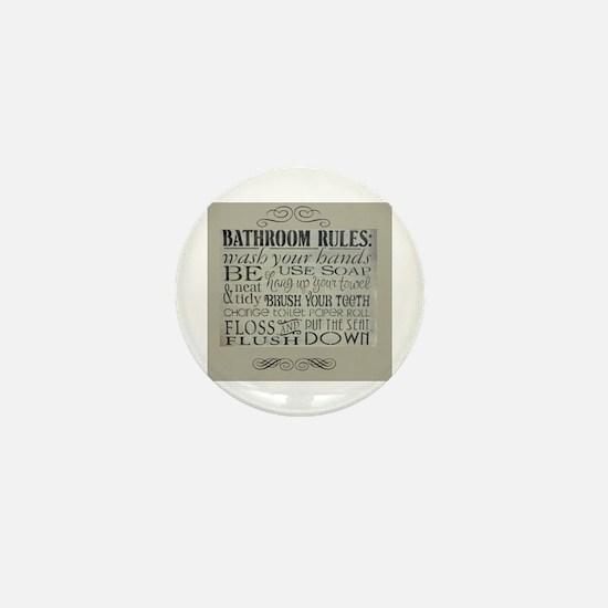 bathroom rules Mini Button