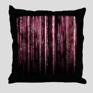 Digital Rain - Red Throw Pillow