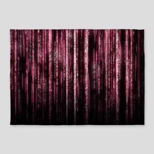 Digital Rain - Red 5'x7'Area Rug