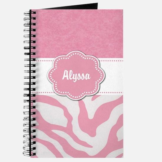 Pink Zebra Personalized Journal