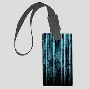 Digital Rain - Blue Large Luggage Tag