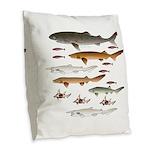 Deep Sea Sharks School 2 c Burlap Throw Pillow
