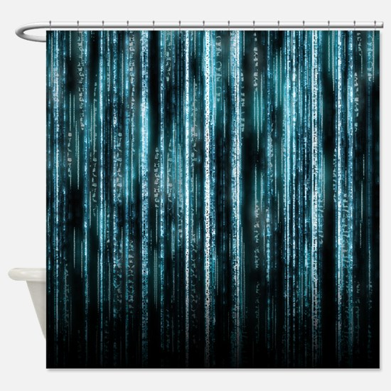 Digital Rain - Blue Shower Curtain