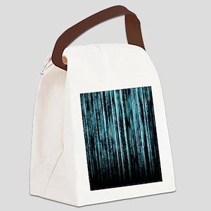 Digital Rain - Blue Canvas Lunch Bag