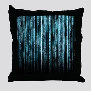 Digital Rain - Blue Throw Pillow