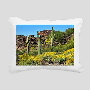 Four Saguaros & Wildflow Rectangular Canvas Pillow