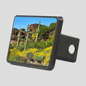 Four Saguaros & Wildflower Rectangular Hitch Cover
