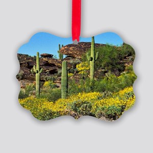 Four Saguaros & Wildflowers Picture Ornament