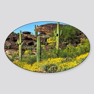 Four Saguaros & Wildflowers Sticker (Oval)