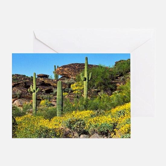 Four Saguaros & Wildflowers Greeting Card