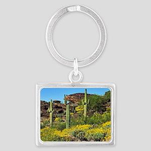 Four Saguaros & Wildflowers Landscape Keychain