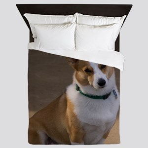 (15) corgi portrait Queen Duvet