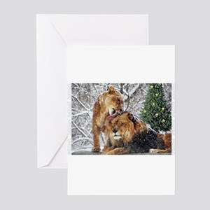 lions in snow Greeting Cards