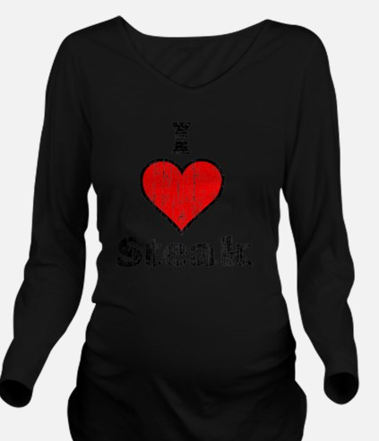 I heart steak vintag Long Sleeve Maternity T-Shirt