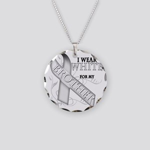 I Wear White for my Brother Necklace Circle Charm