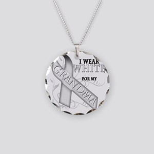 I Wear White for my Grandma Necklace Circle Charm