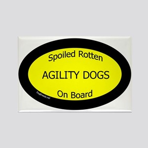 AgilityDogsSpoiledRottenOnBoard Rectangle Magnet