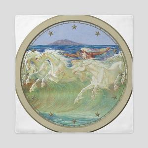 NEPTUNE HORSES CLOCK 2 Queen Duvet