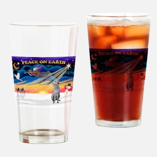 XSunrise-Scottish Deerhound Drinking Glass
