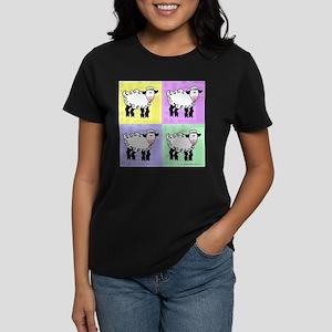 Wobbly Lamb Square Pop Art Women's Dark T-Shirt