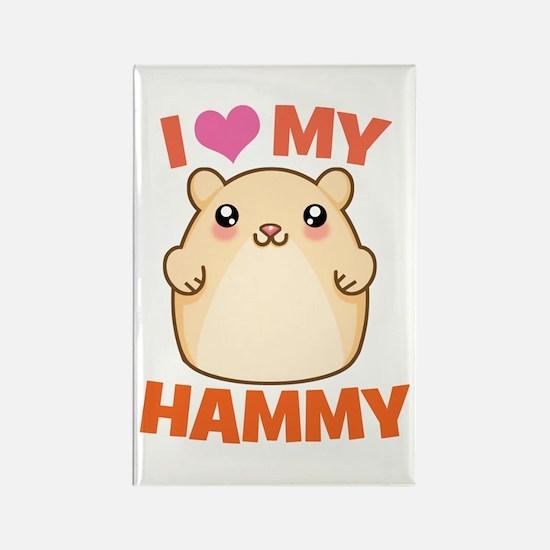 I Love My Hammy Rectangle Magnet