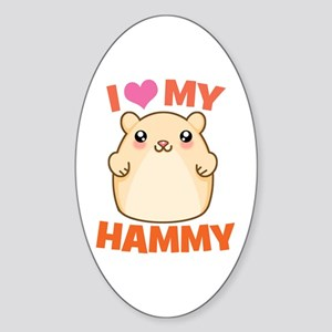 I Love My Hammy Oval Sticker
