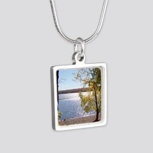 Lake View Scenery Silver Square Necklace