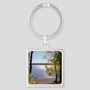 Lake View Scenery Square Keychain
