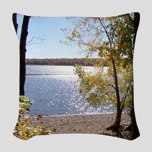 Lake View Scenery Woven Throw Pillow