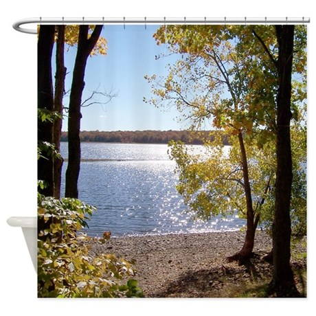 Lake view scenery shower curtain by naturewildlifeartgifts Nature inspired shower curtains