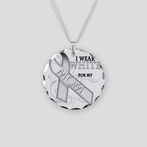 I Wear White for my Mom Necklace Circle Charm