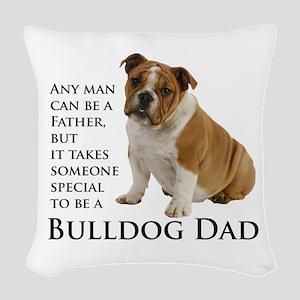 Bulldog Dad Woven Throw Pillow