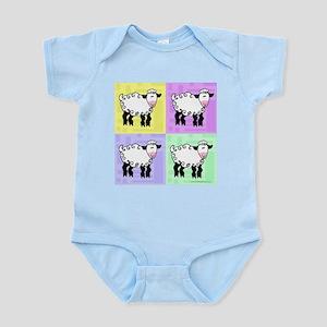 Wobbly Lamb Square Pop Art Infant Bodysuit