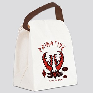 CRAB RED ON BLACK Canvas Lunch Bag