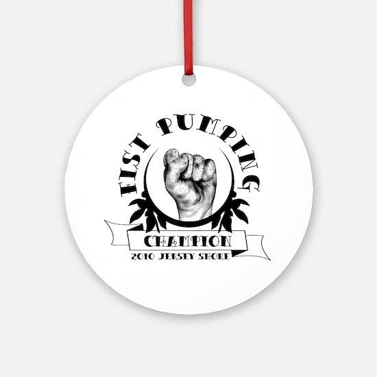 fist pumping champion Round Ornament