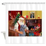 Santa's Scottish Deerhound Shower Curtain