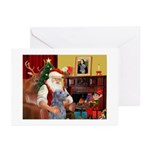 Santa's Scottish Deerhound Greeting Cards (Pk of 1