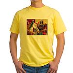 Santa's Scottish Deerhound Yellow T-Shirt