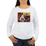 Santa's Scottish Deerhound Women's Long Sleeve T-S
