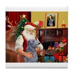 Santa's Scottish Deerhound Tile Coaster