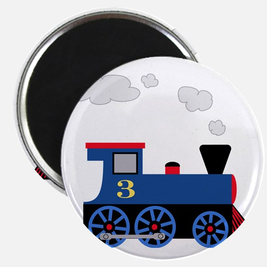 train age 3 blue black Magnet